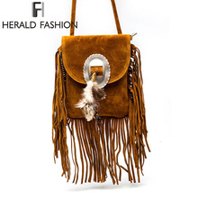 Women Pu Leather Bag Female Fashion Shoulder Bags Famous Brand Crossbody Fringe Tassel Messenger herald fashion