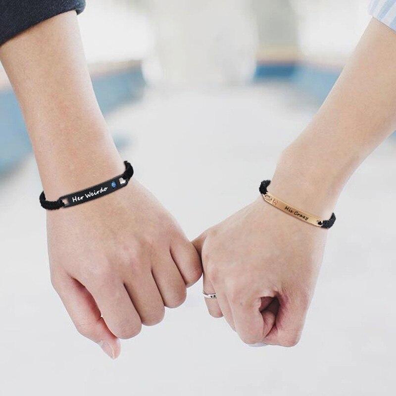Seine Verrückte Ihre Weirdo Edelstahl Tag Paar Armband in Schwarz Geflochtenen Seil Schmuck