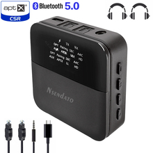 2 في 1 سماعة لاسلكية تعمل بالبلوتوث 5.0 الموسيقى جهاز إرسال سمعي استقبال صغير 3.5 مللي متر aux aptX HD الكمون المنخفض البصرية السيارات على محول للتلفزيون