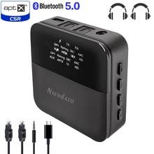 2 ב 1 אלחוטי Bluetooth 5.0 מוסיקה אודיו משדר מקלט מיני 3.5mm aux aptX HD השהיה נמוכה אופטי אוטומטי על מתאם עבור טלוויזיה