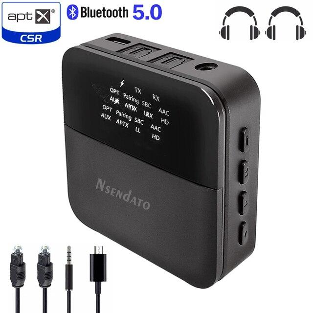 2 em 1 sem fio bluetooth 5.0 música áudio transmissor receptor mini 3.5mm aux aptx hd baixa latência óptica auto no adaptador para tv