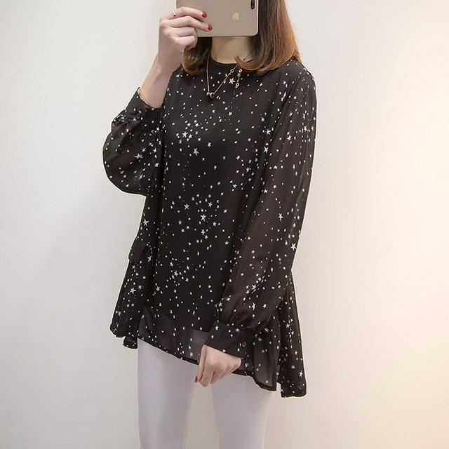 Plus size Women Tops and Blouses 2020 Spring Autumn Star Printing Chiffon Shirts oversize Loose Long sleeve Blusas Femininas 3