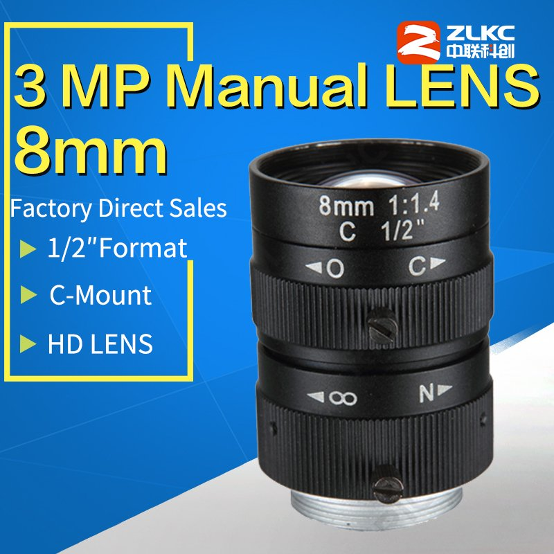 3 Megapixel Manual Fixed Lens  8mm  1/2 F1.4 Lens C Mount FA / Machine Vision fixed focal length lenses Industrial camera lens3 Megapixel Manual Fixed Lens  8mm  1/2 F1.4 Lens C Mount FA / Machine Vision fixed focal length lenses Industrial camera lens