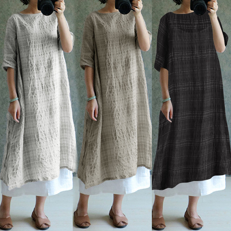 b3539b5d325 ZANZEA 2019 Для женщин Винтаж плед льняные платья летнее платье  негабаритных женская одежда Дамы Повседневный свободный Сарафан Vestidos  S-5XL