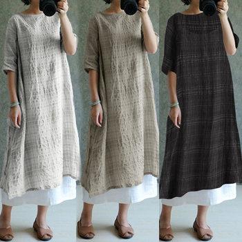 676ee36b81db0e2 ZANZEA 2019 Для женщин Винтаж плед льняные платья летнее платье  негабаритных женская одежда Дамы Повседневный свободный Сарафан Vestidos  S-5XL