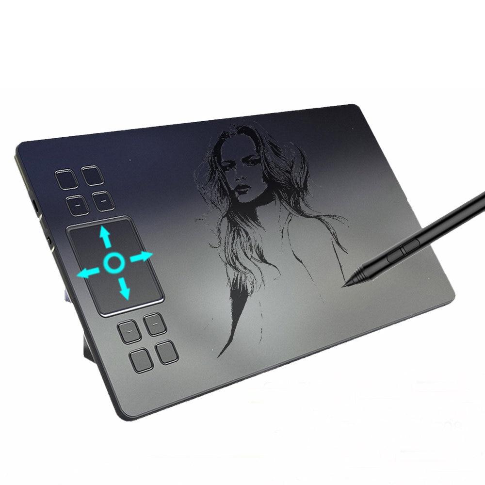 A50 tablette de dessin numérique stylo graphique tablette avec 8192 niveaux passif stylo planche à dessin pour Win pour Mac système logiciels