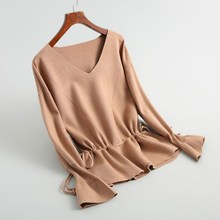 Autumn Winter New V-neck Knitted Pullovers 2018 New Women Flare Sleeve Solid Sweater Vintage Lace-up Slim Knit Tops