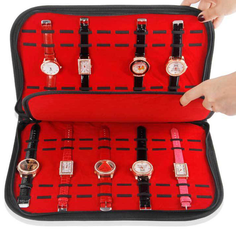 20 fentes/grilles étui de montre en cuir avec fermeture éclair velours montre-bracelet affichage boîte de rangement plateau voyage bijoux emballage étagère organiser
