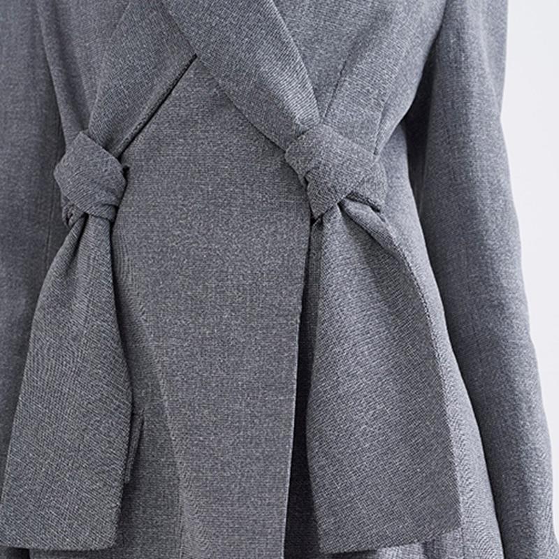 Qualité Black Manteau Gris Haute Printemps Collar Mince Longues Personnalité Irrégulière Manches down gray Turn Li194 Femme Couleur eam 2019 Spliced Noir q4wHTYqxX