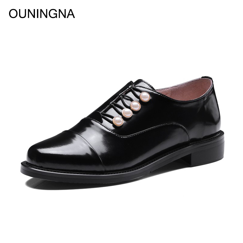 OUNINGNA womens casual shoes 2019 spring autumn new british style genuine leather pearl round toe low heel loafers ladys shoesOUNINGNA womens casual shoes 2019 spring autumn new british style genuine leather pearl round toe low heel loafers ladys shoes