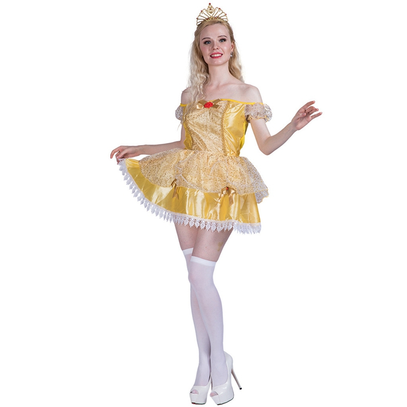Woman Golden Beauty Princess Ladies Fancy Dress Belle Fairytale Book Day Adult Halloween Cosplay Costume