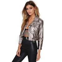 Women Punk Cool Style Jacket Short Pu Leather Coat Turn down Collar Silver More Pockets And More Zipper plus Size Jacket Outwear