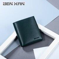 BENXAN イブニングクラッチ高級特許シンプルな革ショートメンズミニ財布垂直女性財布本革財布