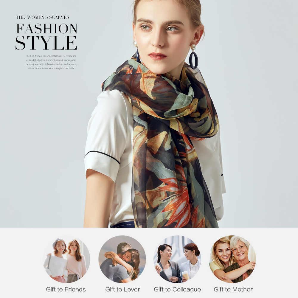 [VIANOSI] sciarpe spiaggia foulard delle Donne del progettista di stampa sciarpa di seta delle donne di lusso 2019 scialle di modo lungo nero bandana