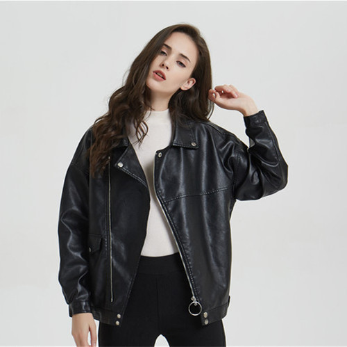 Women Leather Jackets BF Wind Feminine Black Lantern Sleeve Faux Leather Coat Loose Plus Size Casual PU Jacket Oversize 2019 New