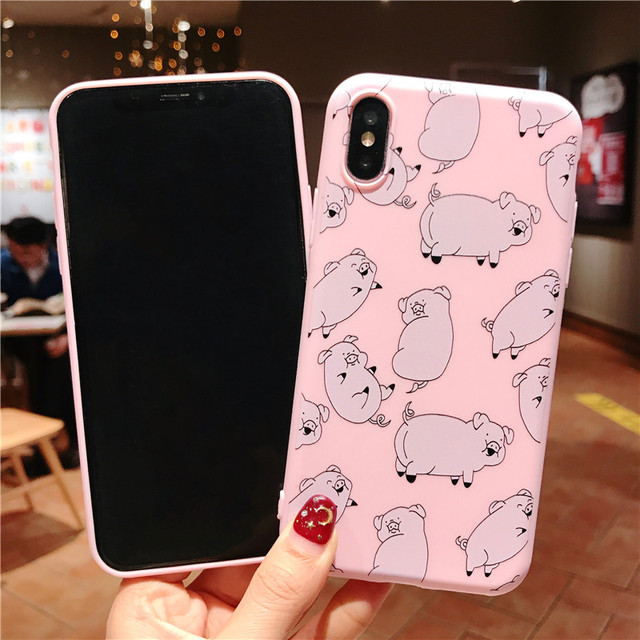 Cute Pig Phone Case For iPhone Couples Cartoon Soft TPU Silicone Back Cover 2