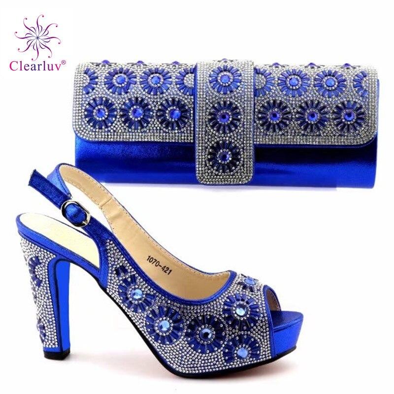 Assorties bleu Noir Africaines Décoré Strass Sac Italien or Femmes rouge Or Couleur Italie 2019 Chaussure argent Ensemble Chaussures Et Avec R4Exnaq