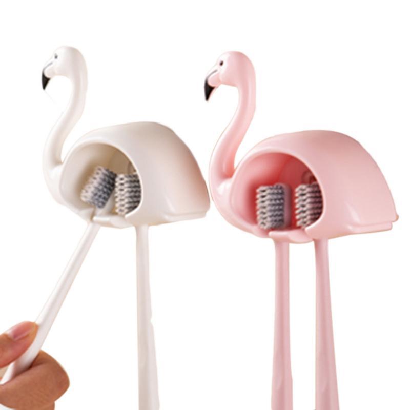 Cartoon Suction Cup Toothbrush Holder Flamingo Sucker 2 Position Toothbrush