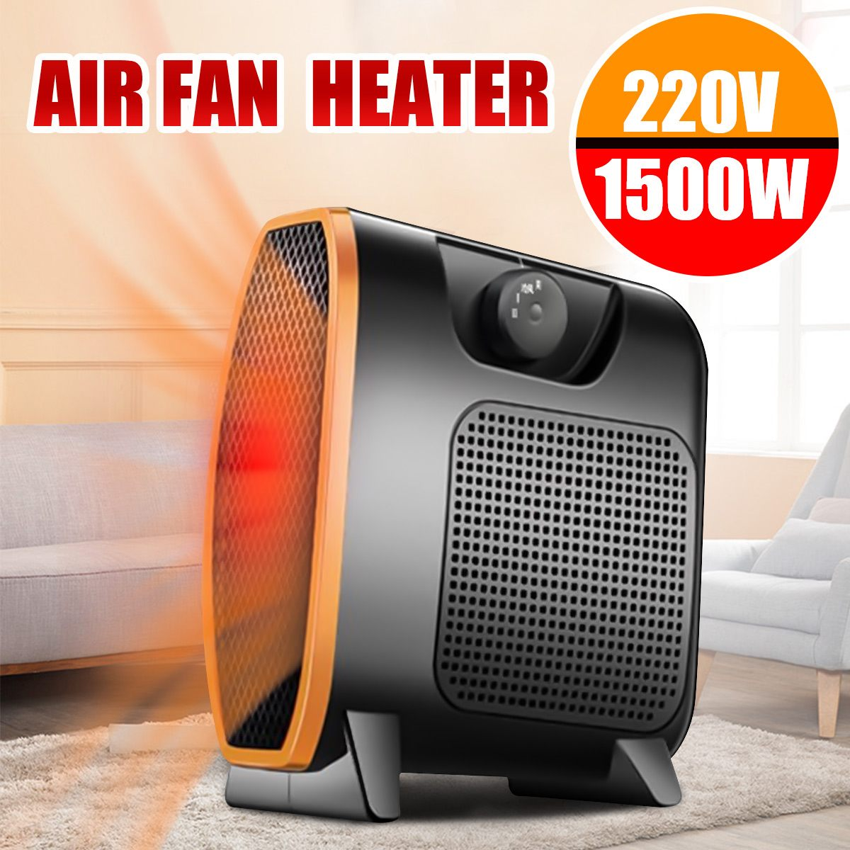 220V 1500W Heater Portable Mini Electric Heater Electric Home Heater Fan Handy Air Warmer Silent Home Office Handy Heater