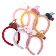 1PC cute rabbit headband pompom plush decorative hair band soft scrunchie girl headdress animal handmade accessories