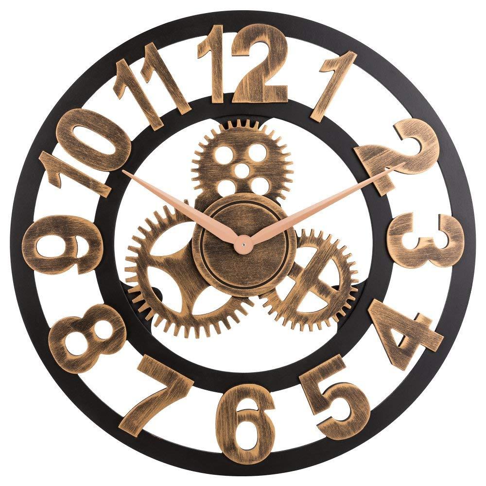 LUDA horloge 3D rétro rustique Vintage en bois 23 pouces silencieux engrenage horloge murale numéro antique or