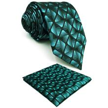 Indigo Black Checkes Silk Mens Necktie Fashion Designer Groom Dress Pocket Square X-long