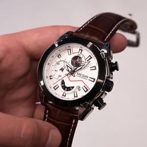 Image 4 - MEGIR montre de Sport militaire pour hommes, marque de luxe en cuir, horloge à Quartz pour hommes, chronographe créatif
