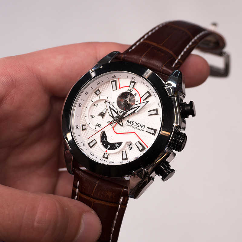 MEGIR צבאי ספורט שעון גברים למעלה מותג יוקרה עור צבא קוורץ שעונים שעון גברים Creative הכרונוגרף Relogio Masculino