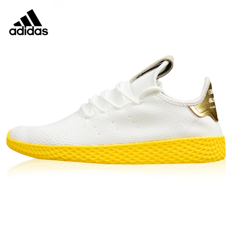693198e625784 Adidas Originals Stan Smith Hu Women s Running Shoes White   Yellow Shock  Absorbing Breathable Lightweight Sneakers