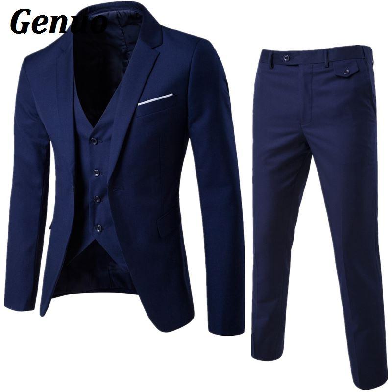 Genuo Men 3 Piece Suit 2018 Wedding Suits For Men Shawl Collar Slim Fit Suit And Pant Royal Blue Men Suit Tuxedo Jacket Pant Set