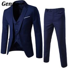 Genuo Men 3 Piece Suit 2018 Wedding Suits For Shawl Collar Slim Fit and Pant Royal Blue Tuxedo Jacket Set