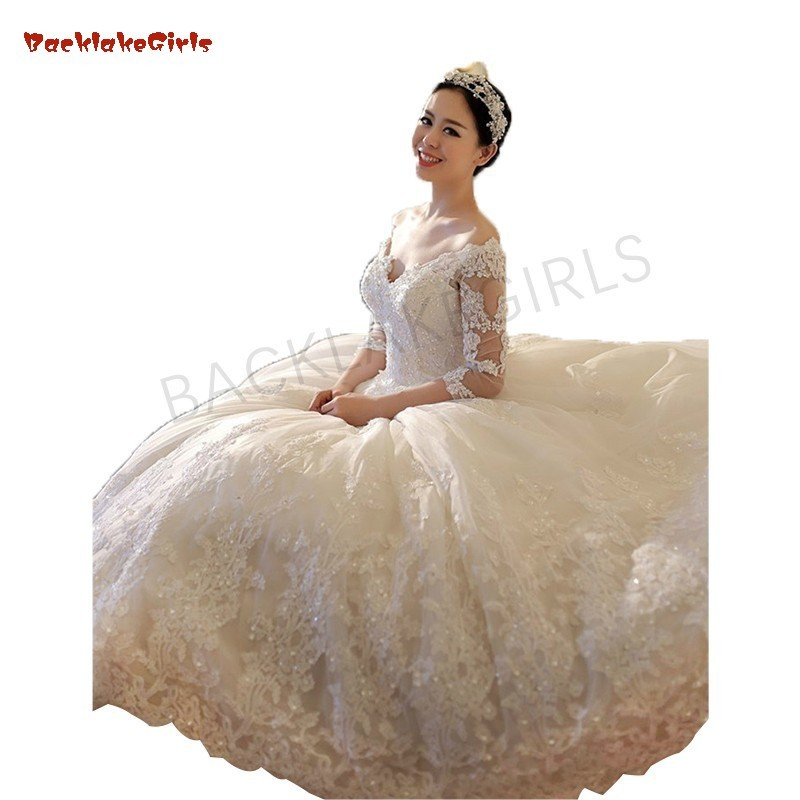 New Design Luxury Wedding Dresses Long Tail Ball Gown V Neck Floor Length Sexy See Through Back Bridal Gowns Wedding Dresses