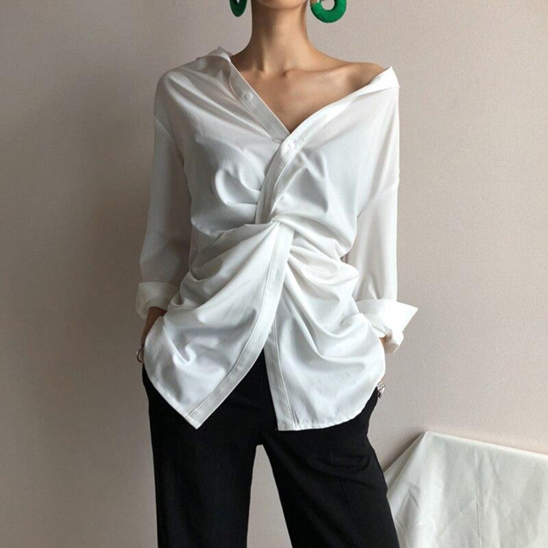 DEAT 2019 nouveau printemps mode femmes vêtements irrégulière V plomb chemise printemps vêtements asymétrique coréenne fille chemise WD75300L