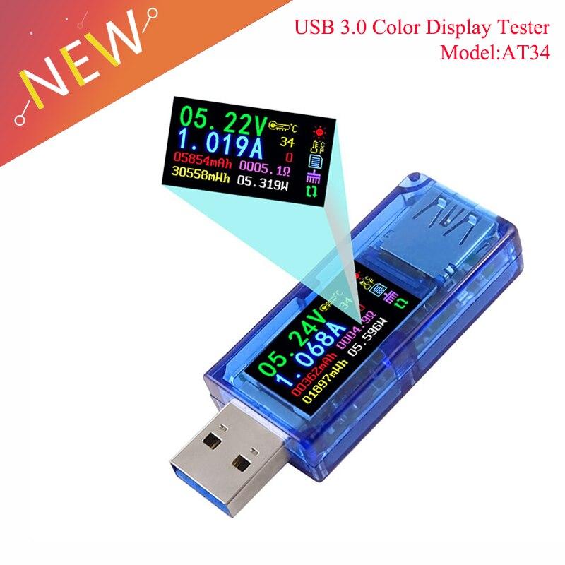 AT34 USB 3.0 farbe LCD Voltmeter amperemeter spannung strom meter multimeter batterie ladung power bank USB Tester