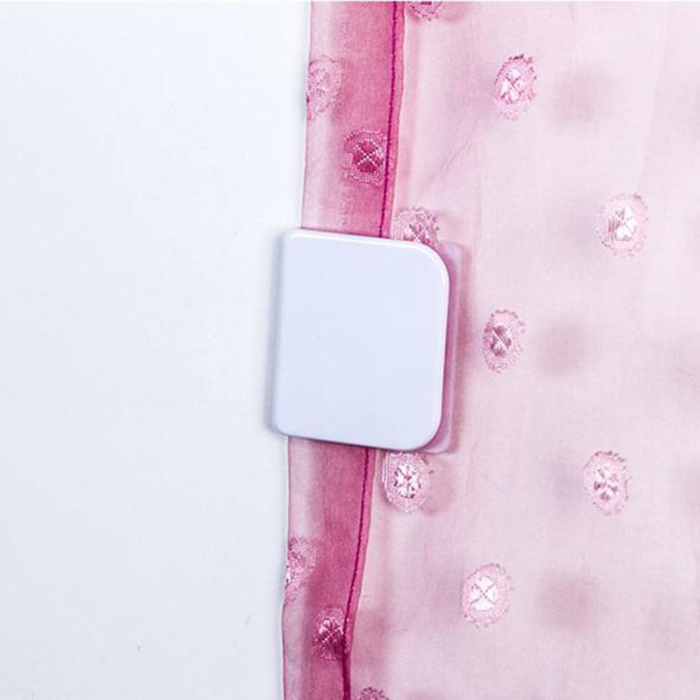 2pcs Self Adhesive Fixation Shower Curtain Clamps Plastic U Shape Curtain Fixed Clip Household Bathroom Windows