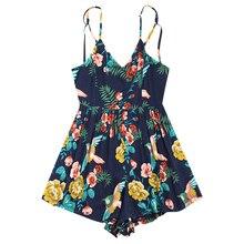 Summer Female Criss Cross Open Back Strapless Playsuits Women Rompers Print Cotton Jumpsuit Short Overalls Jumpsuits цена 2017