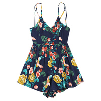 Summer Female Criss Cross Open Back Strapless Playsuits Women Rompers Print Cotton Jumpsuit Short Overalls Jumpsuits