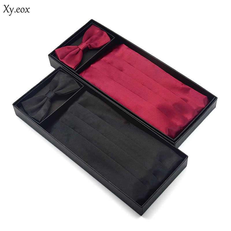 3pcs Men's Gown Cummerbund  Sets Bow Tie Pocket Square Wedding Party Suit Belt Ceremonial Belt
