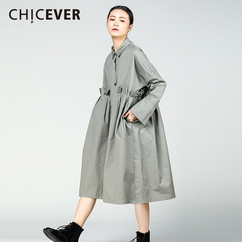 CHICEVER 2019 Spring Patchwork Ruffles Women Dress Female Loose Big Size Fold Black Dresses Clothes Fashion