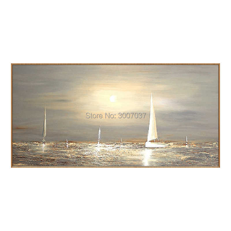 art abstract landscape oil painting on canvas sailing boat under the sunset wall art pictures for living room home decoracion
