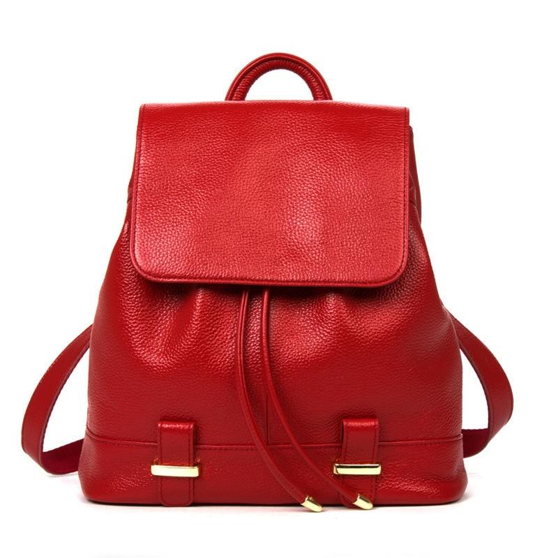 Kajie femmes Top en cuir véritable ordinateur portable voyage dames solide sac à dos noir pour les filles Mochila Feminina Plecak sac à cordon