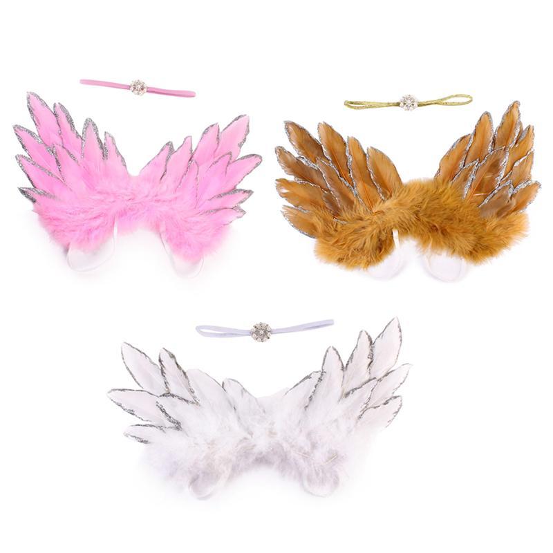 WunderschöNen Neugeborenen Baby Feder Engel Flügel Strass Stirnband Set Baby Chiffon Blume Stirnband Haar Zubehör