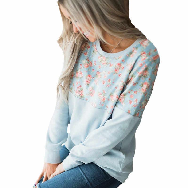 Hoodies Phụ Nữ 2018 Nhãn Hiệu Nữ Dài Tay Áo In Hoa Áo Trùm Đầu Áo Tracksuit Mồ Hôi Áo Giản Dị Thời Trang Dạo Phố S-XL