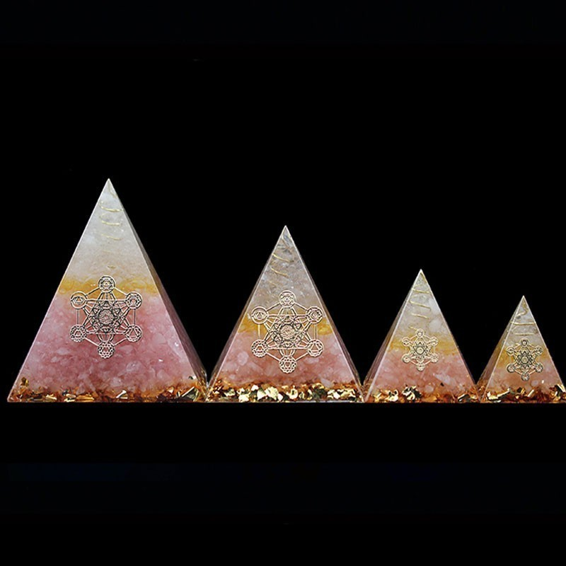 AURA REIKI Orgonite Pink Crystal Pyramid Auger Auger Energy Generator Resin Decorative Craft Jewelry Bring Lucky Home Z0014