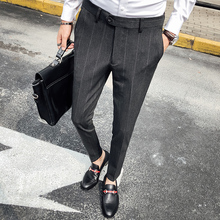 Business Casual Formal Striped Pantalon Homme Mens Slim Suit Straight Fit Dress Pants Male Leisure Western-style Office Trousers
