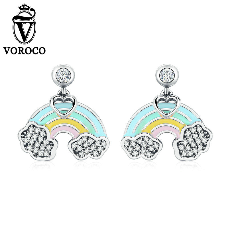 VOROCO Earings Jewelry 925-Sterling-Silver Women Fashion Party for Wedding Chic Female