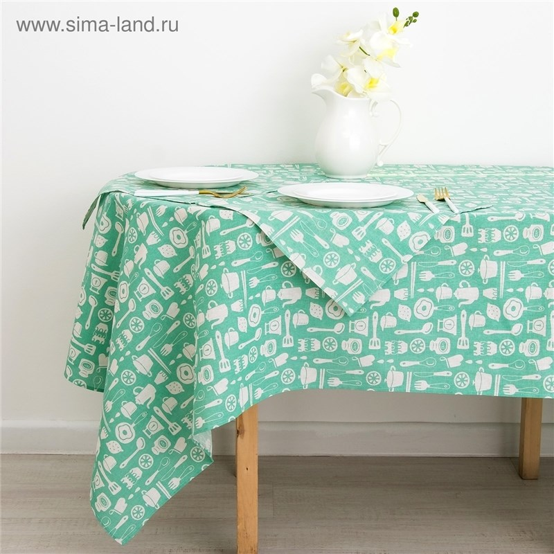 Set Доляна tablecloth 145х200см/wipes 40х40см 4 PCs, Kitchen, 100% PE, рогожка 200 C/M 3580577
