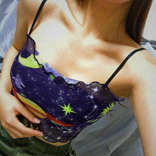Fashion Women Star Gallaxy Print Mesh Cami Tops Club Starry Sky Bustier Crop Top