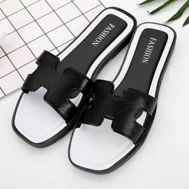 2018 New Fashion Slippers Women Leather Flat Bottom Wild Casual Sandals Outdoor H Letter #927 цена 2017