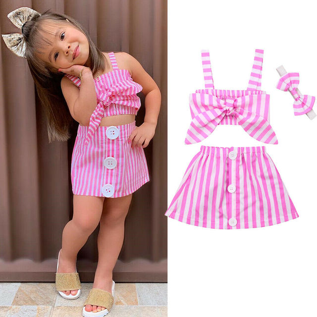 0-3Y New Summer Newborn Baby Girl Cute Pink Clothes 2PCS Cotton Sleeveless Stripe Tops+Tutu Skirt Summer Outfits